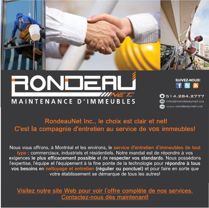 Pour tous vos besoins en maintenance d'immeubles, pensez RondeauNet Inc.!