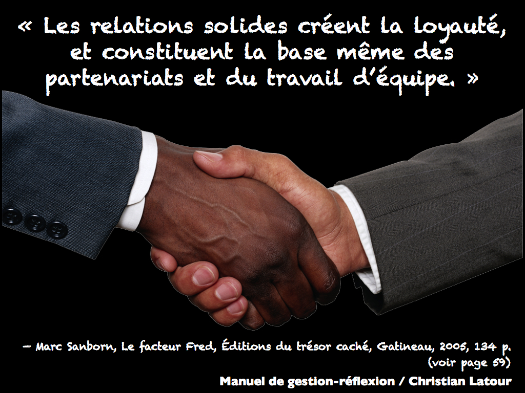 Selon Marc Sanborn… Il y a 7 « MANIÈRES D'ÊTRE » nécessaires pour établir des relations personnelles et professionnelles durables.