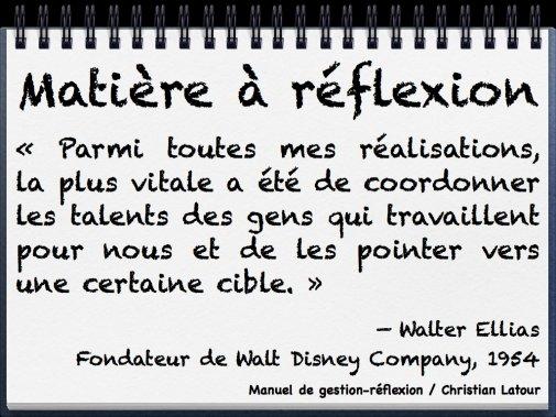 « Parmi toutes mes réalisations, la plus vitale a été de coordonner les talents des gens qui travaillent pour nous et de les pointer vers une certaine cible. » — Walter Ellias
