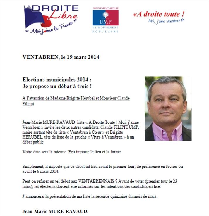 Jean-Marie MURE-RAVAUD invite le maire sortant et Brigitte Hérubel à un débat public.