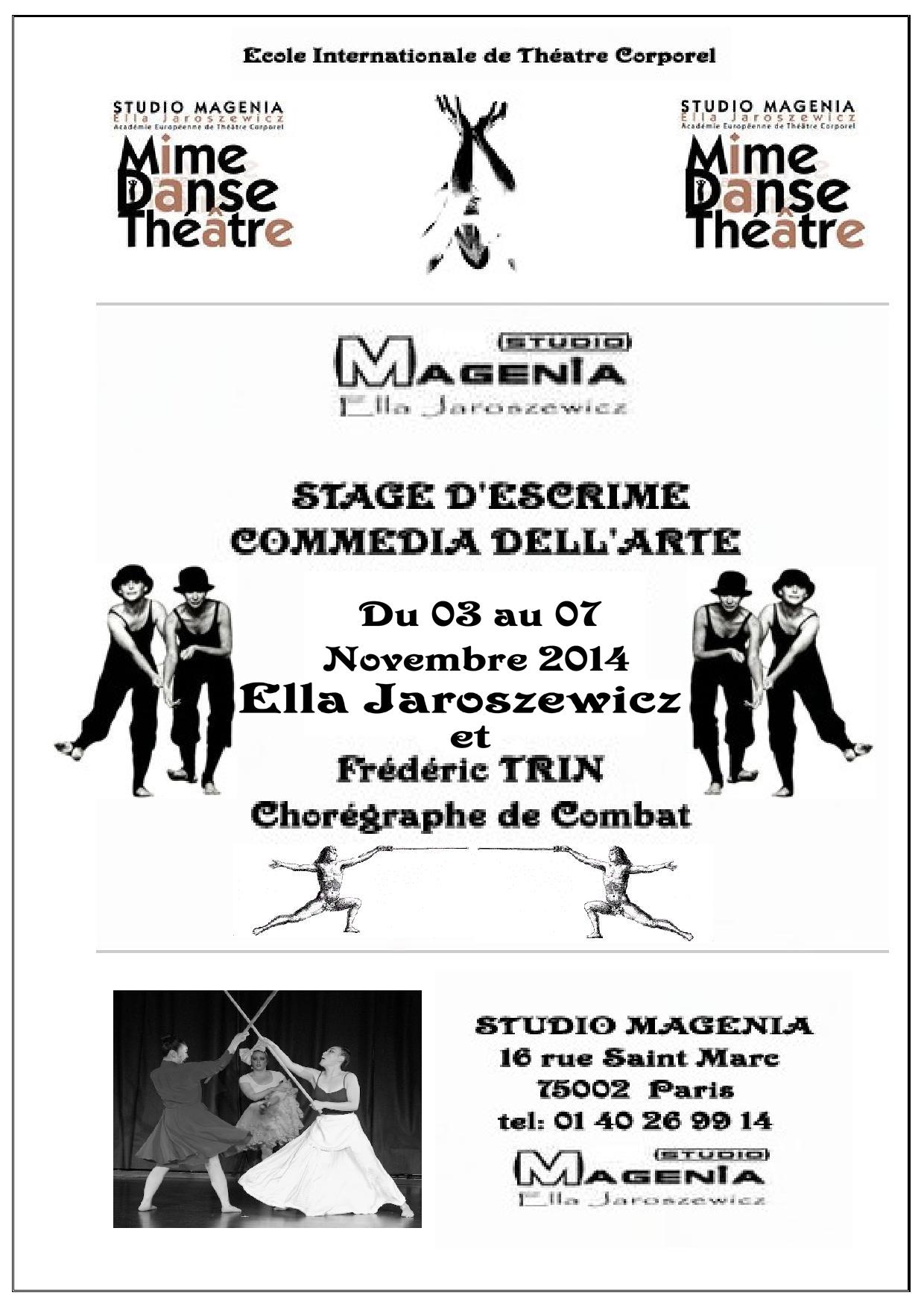 Stage d'escrime théâtrale du 03 au 07 Novembre 2014