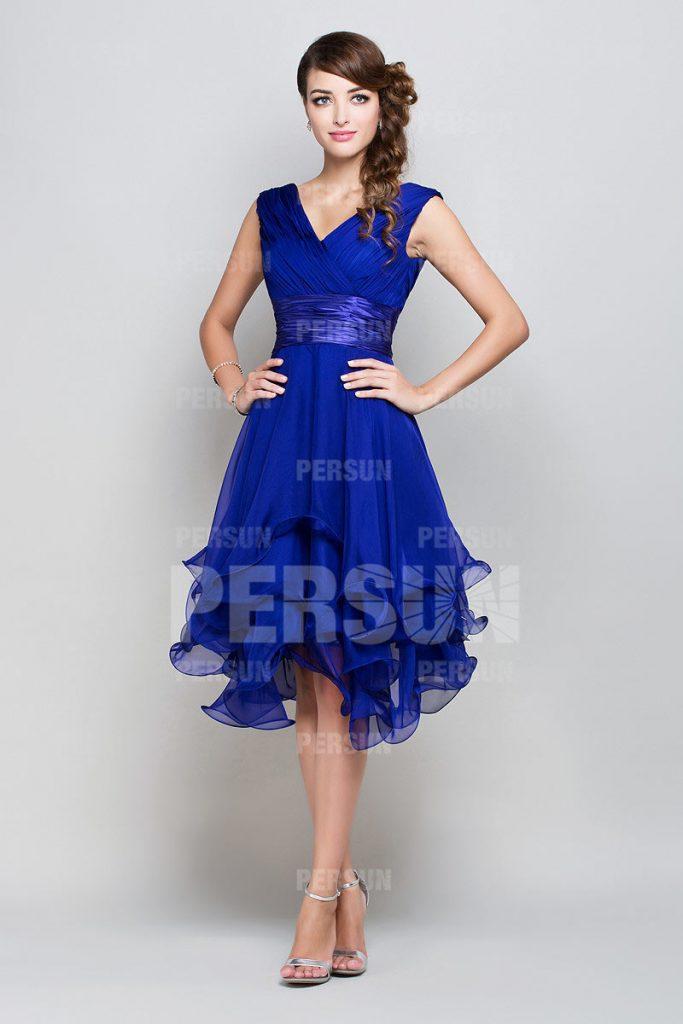 Femme robe de cocktail bleu royal col en v en Tencel