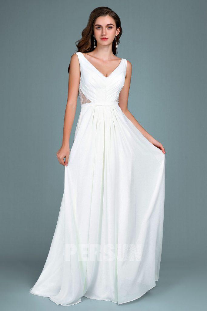 Robe de soirée blanc cassé simple longue col en V plissé