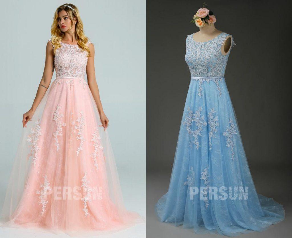 Vintage Robe de mariée dentelle rose perle dos v