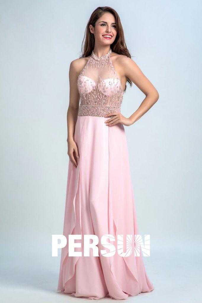 Robe de bal rose longue à bustier transparent