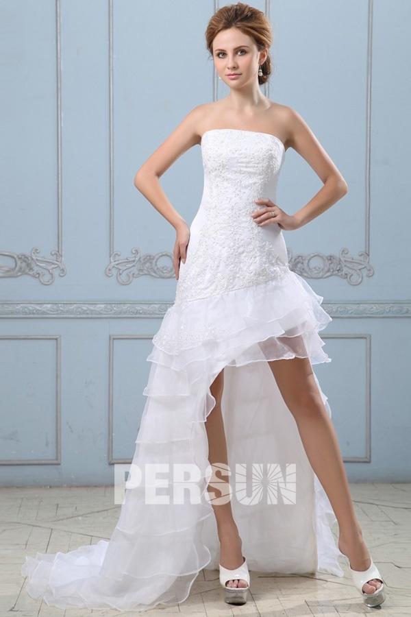 Robe de mariée ligne A en organza sans bretelle