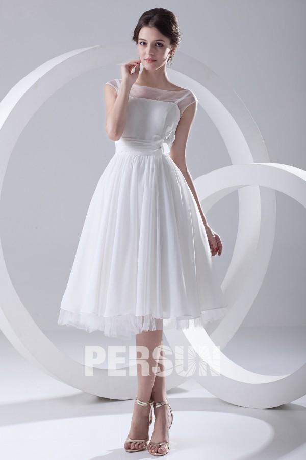 Robe de mariée courte ligne A au ras du genou avec mancheron