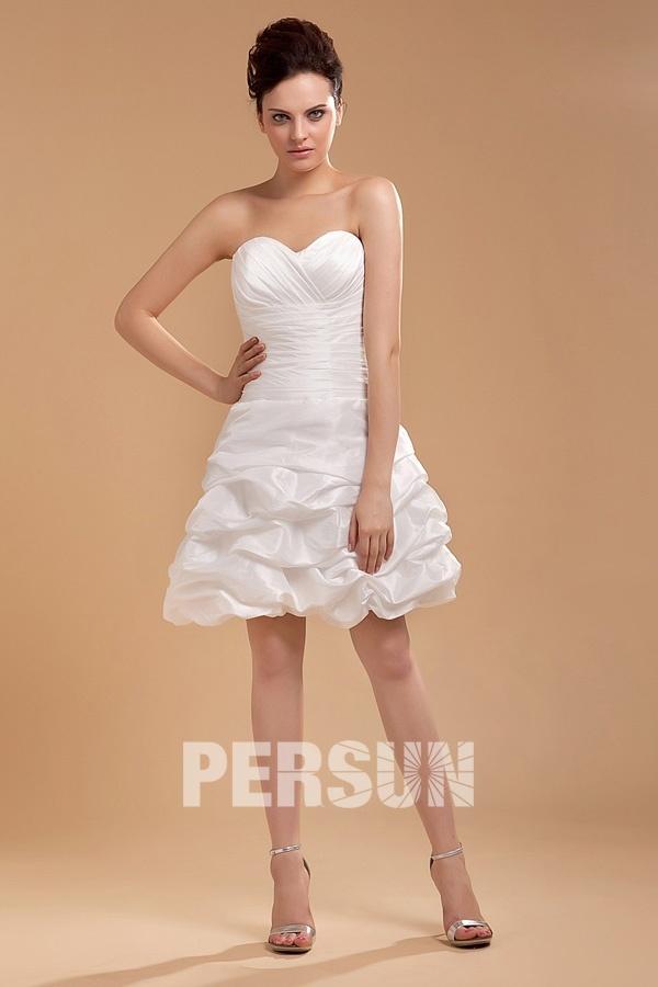 Robe de mariée en taffetas ligne A empire longue au dessus du genou