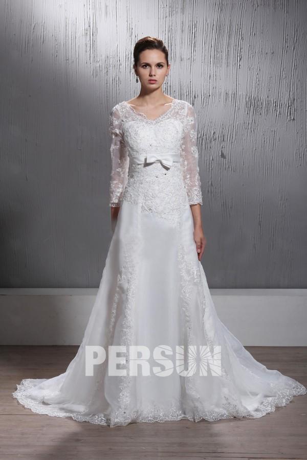 Robe de mariée ligne A avec manches longues