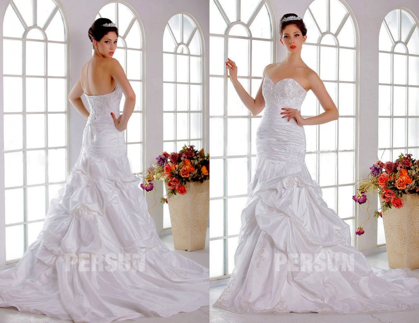 Robe de mariée moderne broderie exquise en taffetas