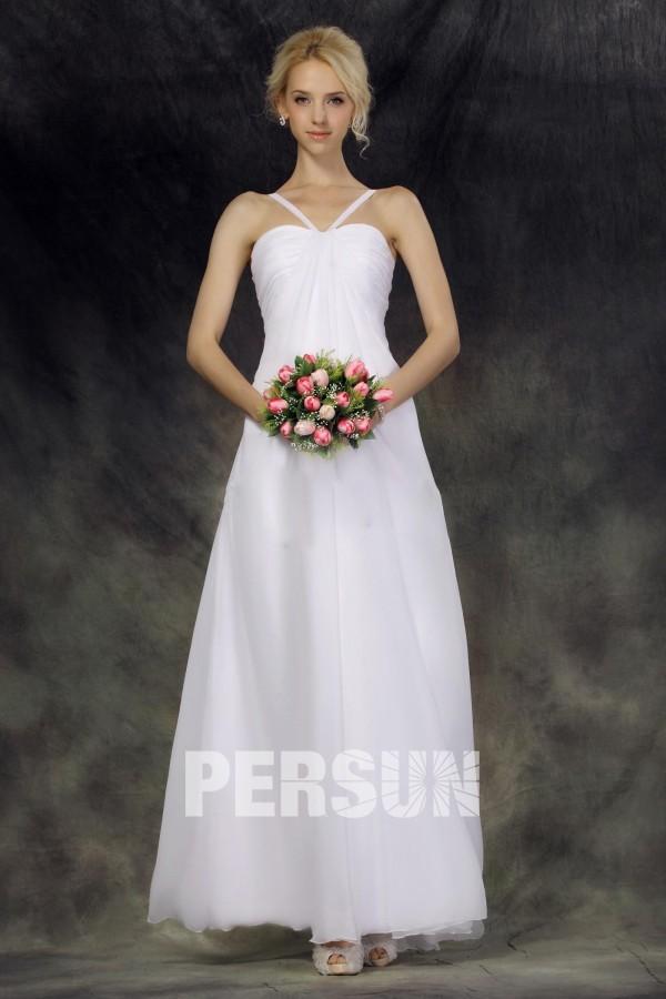 Robe de mariée simple empire en mousseline de soie
