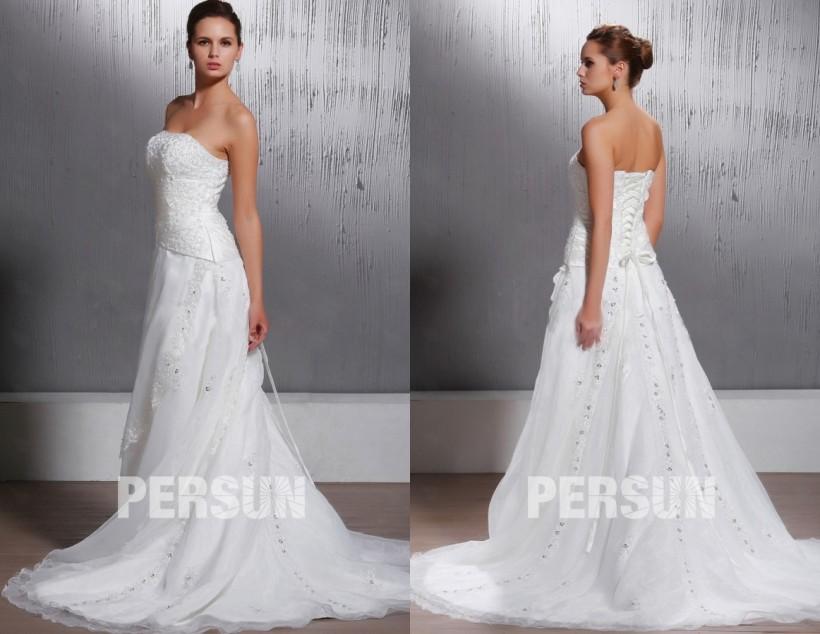Robe de mariée ligne A en organza  sans manche