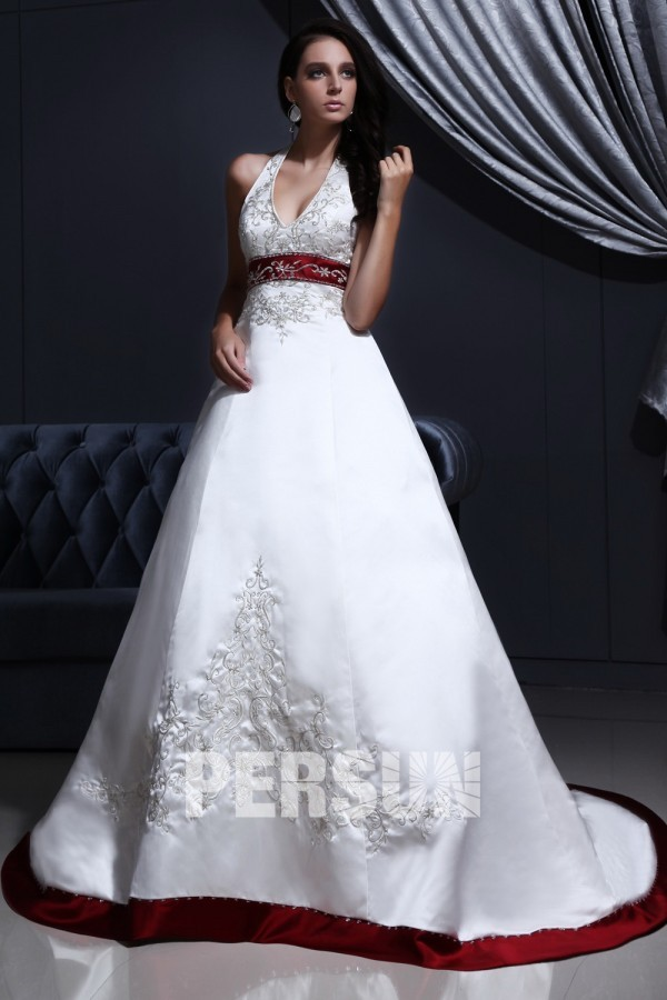 Robe de mariée  col américain en satin