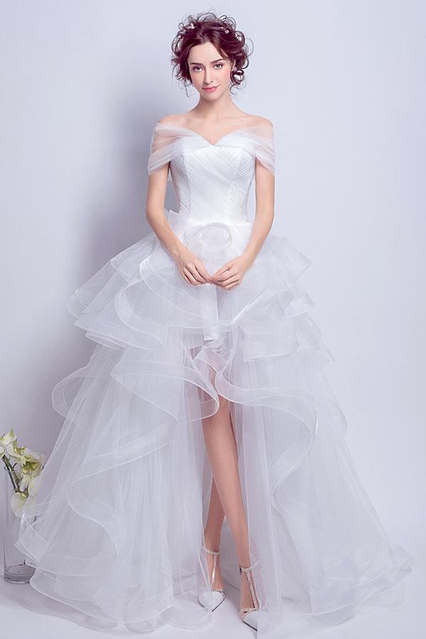 Robe de mariée courte devant longue derrière ligne A