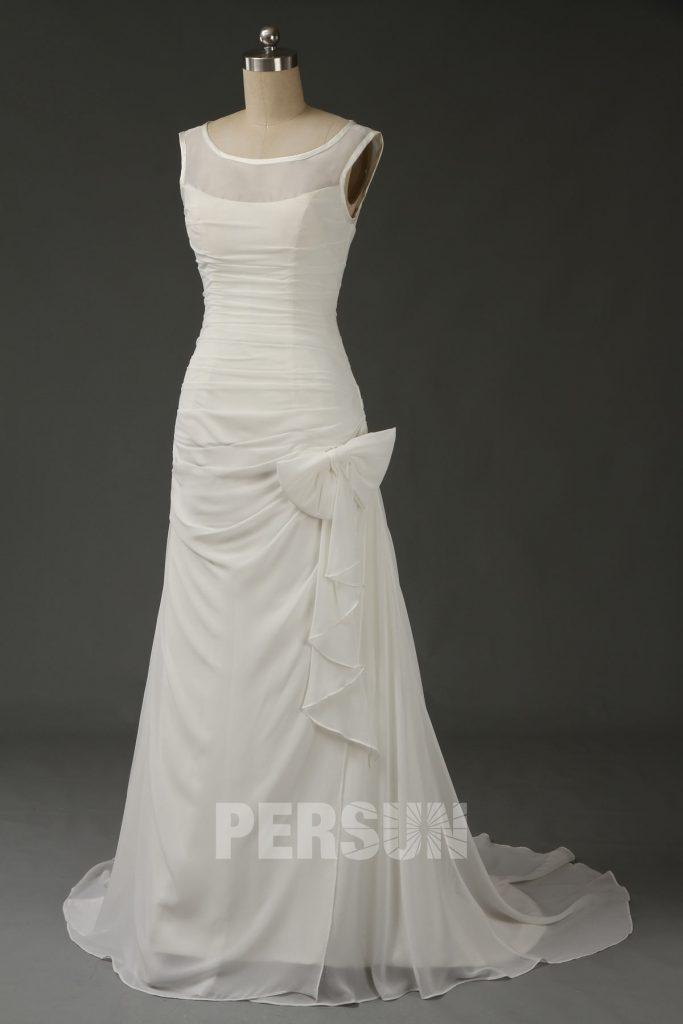 Robe de mariée simple à nœud papillon en mousseline