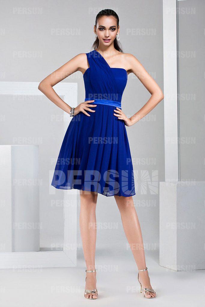 Robe courte asymétrique bleu royal pour soirée de mariage ligne A au ras du genou