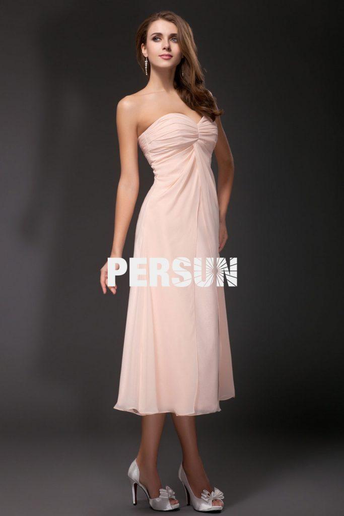Robe de soirée pour mariage empire moulante en Mousseline mi longue au mollet rose pâle