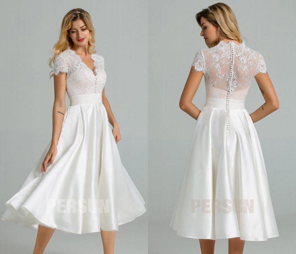 Robe midi vintage pour mariage civil haut dentelle avec mancherons