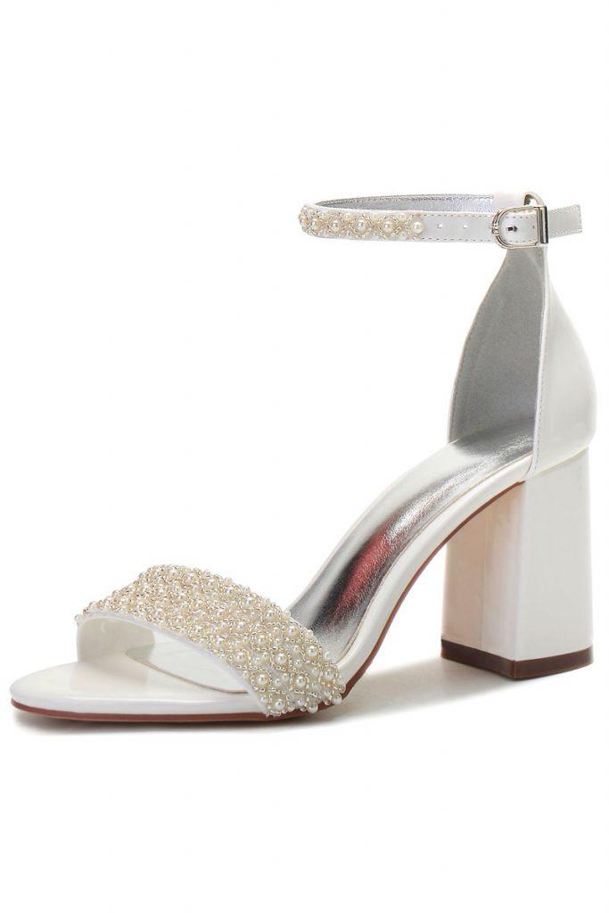 Chaussures de mariage à talon épais
