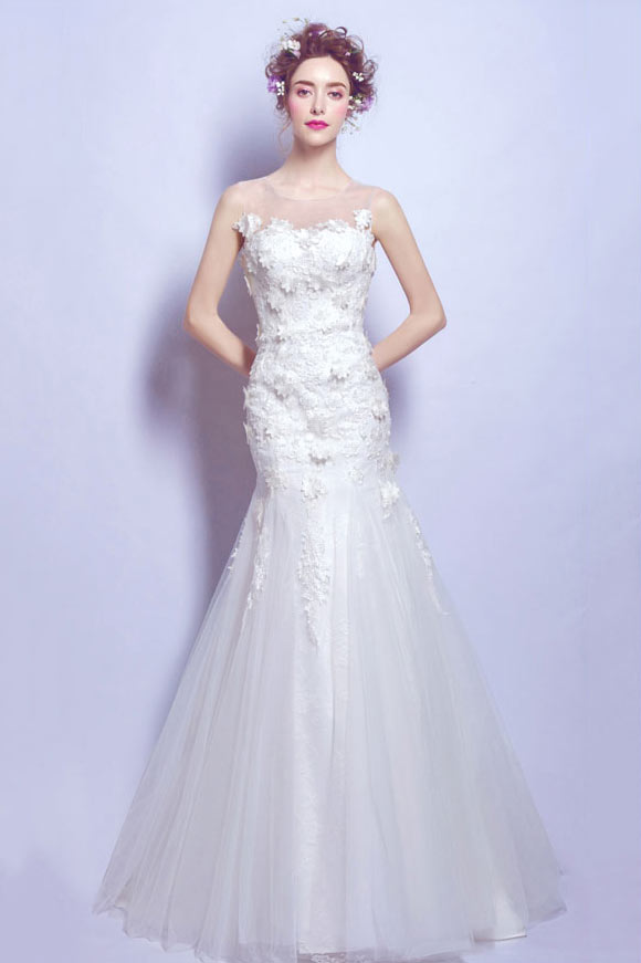 Robe mariée sirène moulante dentelle fleurie design transparent & Dentelle 3D