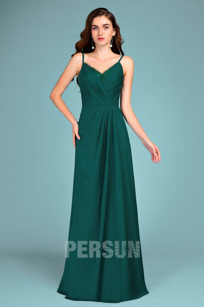 Robe demoiselle d'honneur verte longue col V avec empiècement dentelle