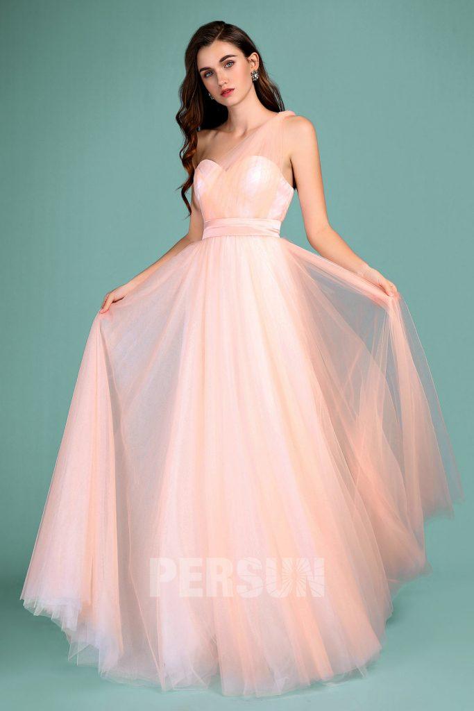 robe pêche clair longue en tulle avec bretelle convertible pour mariage