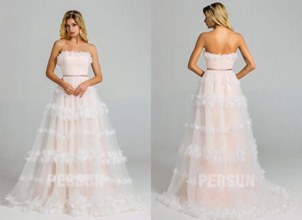 robe de mariée florale doublure rose poudré bustier droit avec traîne